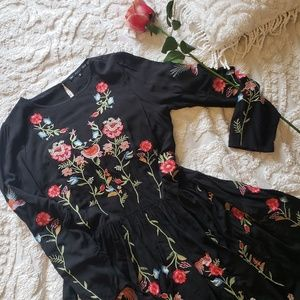 ANTHROPOLOGIE EMBROIDERED BLACK TUNIC DRESS TOP